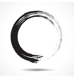 Brush painted black ink circle vector