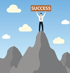 Businessman standing on peak mountain with success vector
