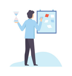 Businessman with hourglass planning his working vector