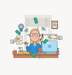 businesswoman working and analyzing financial vector image