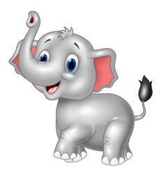 Cartoon baby elephant look to the side with trunk vector