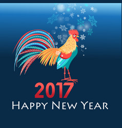 christmas greeting card with a rooster vector image