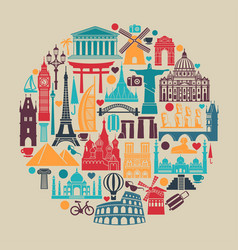 circle of symbols icons world tourist attractions vector image