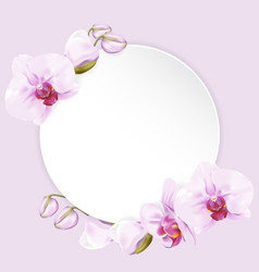 Circle paper with orchids vector