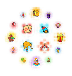circus comics icons set vector image
