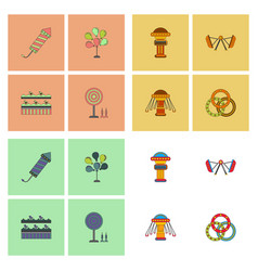 circus icons collection vector image