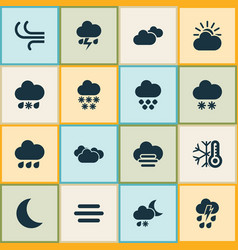 climate icons set with sleet winter light and vector image