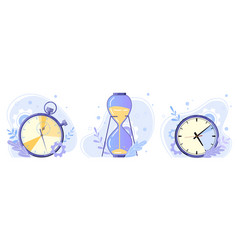 clock hourglass and stopwatch watch hours timer vector image