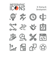Collection of minimal thin line icons startup and vector