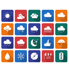 Collection of rounded square icons weather vector