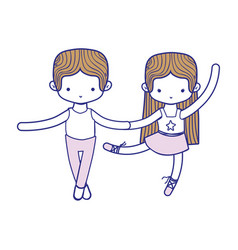 Colorful couple practice ballet with professional vector
