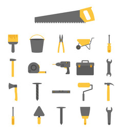 construction tools icon set on white background vector image