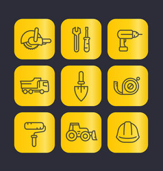Construction tools line icons set trowel wrench vector