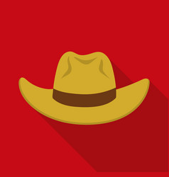 cowboy hat icon in flat style isolated on white vector image