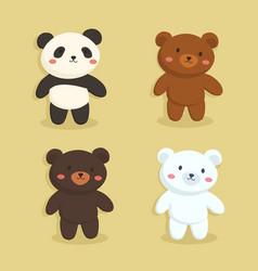 cute bear set grizzly panda polar black vector image
