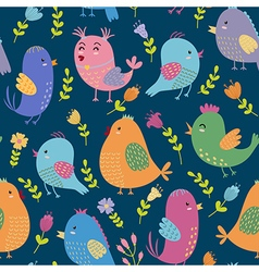 Cute birds seamless pattern vector