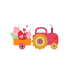 Cute pink tractor with cart with flowers and heart vector