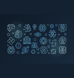 Digital brain blue outline banner vector