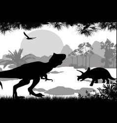 Dinosaurs silhouettes in beautiful landscape vector