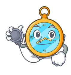 Doctor pocket vintage watch on a cartoon vector