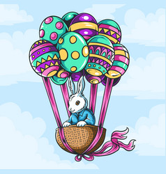 easter bunny in basket with flying balloon eggs vector image