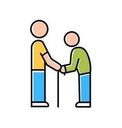 Elderly people help color icon volunteer vector