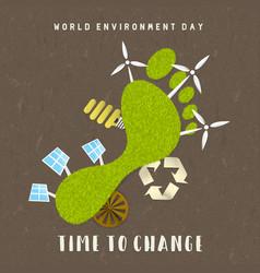 environment day card green carbon footprint vector image