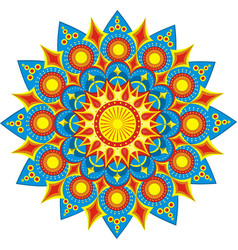 Festive colorful mandala 2 star pattern in vector
