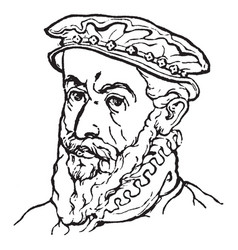 Flat cap are renaissance costume vintage engraving vector