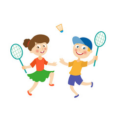 Flat children playing badminton shuttlecock vector