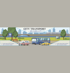 flat city transport background vector image