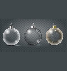 glass christmas toys set on a transparent vector image