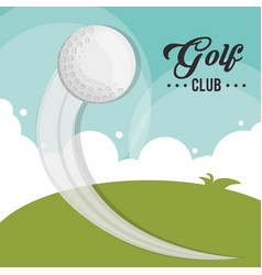 Golf club ball flying field vector