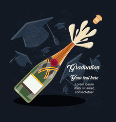 Graduation card with wine bottle vector