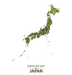 Green leaf map of japan vector image