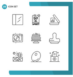 Group 9 modern outlines set for cakes baking vector