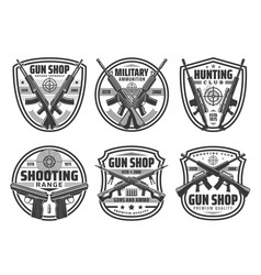 Guns rifles pistols with targets weapon icons vector