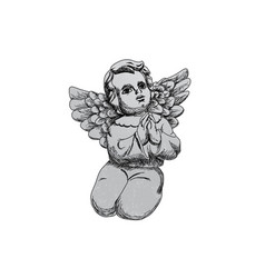 hand drawn angel figure vector image