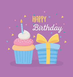 Happy birthday gift box sweet cupcake with candle vector