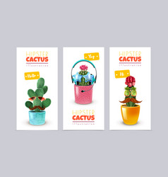 Hipster cactus banners set vector