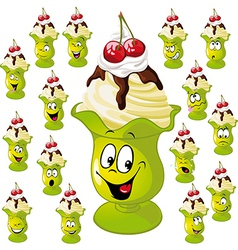 Ice cream cup with many facial expressions vector