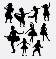 Kid or children happy action silhouette vector