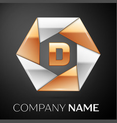 letter d logo symbol in the colorful hexagon on vector image vector image