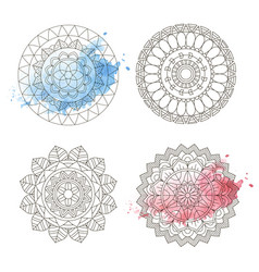 mandala coloring watercolor floral art round vector image