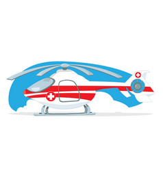 medical helicopter turned off and parked on light vector image