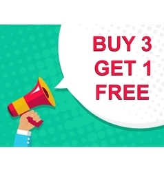 Megaphone with BUY 3 GET 1 FREE announcement Flat vector