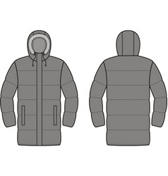 Mens down long coat front and back vector