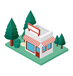 mini tree and store building isometric vector image