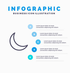 moon night sleep natural line icon with 5 steps vector image