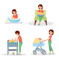 mother and baby big set vector image